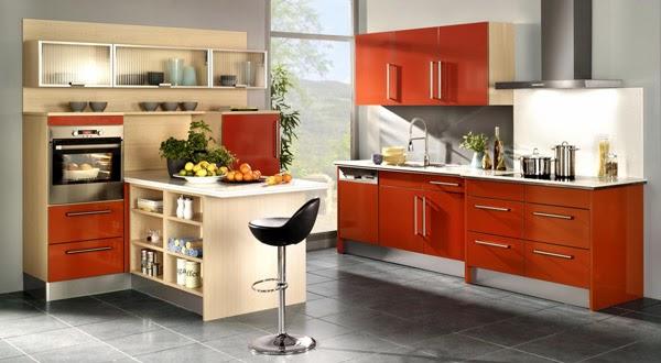 Cocinas modernas color naranja colores en casa - Cocinas naranjas y blancas ...