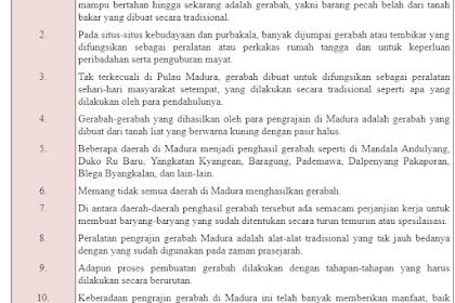 Ide Pokok Dan Pengembangannya Jawaban Soal Buku Siswa Kelas 5 Tema 1 Halaman 127-129 [Teks Gerabah Dari Pulau Madura]