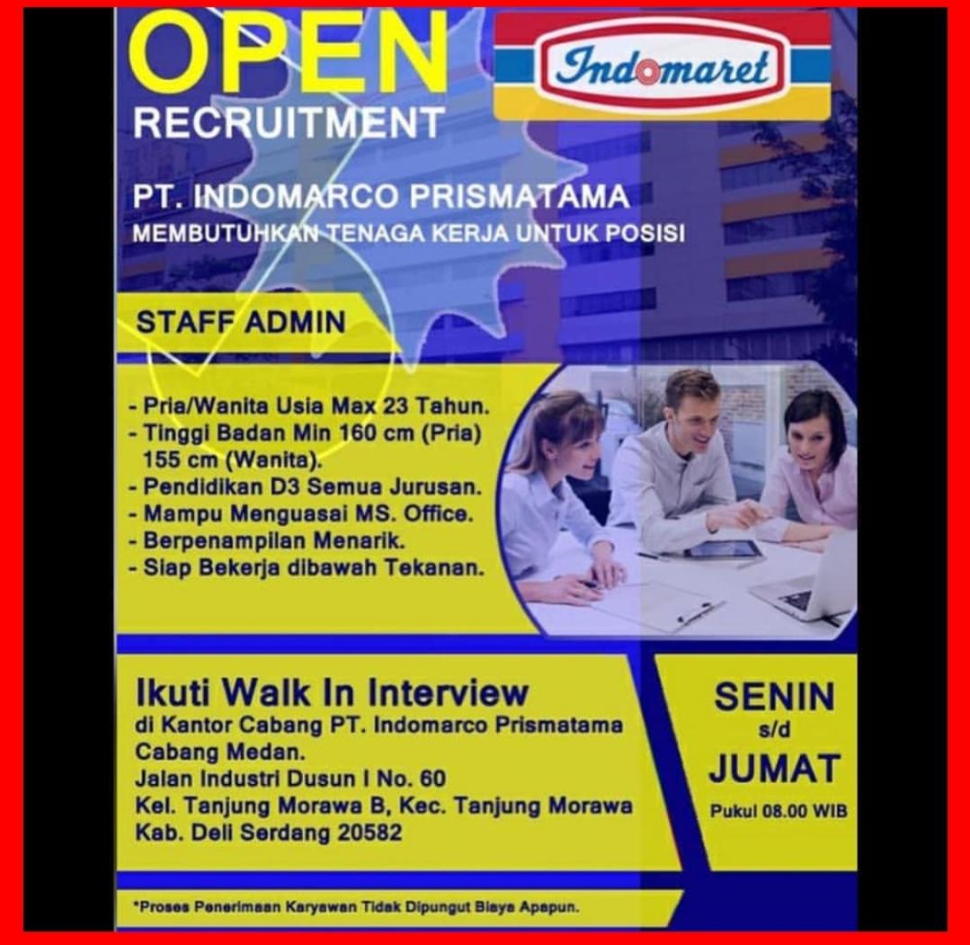 Lowongan Kerja Staff Admin Pt Indomarco Prismatama Medan Januari 2020 Lowongan Kerja Medan Terbaru Tahun 2021