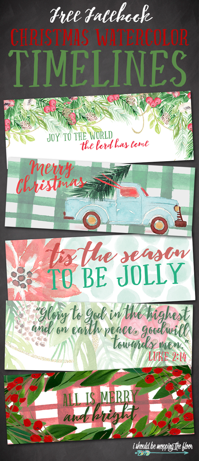 Free Facebook Christmas Watercolor Timelines | Download one of five free holiday watercolor timelines to give your profile a festive touch!