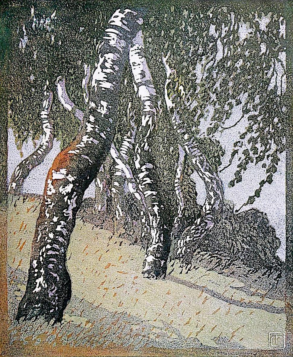 Carl Thiemann art 1908? trees on a hill