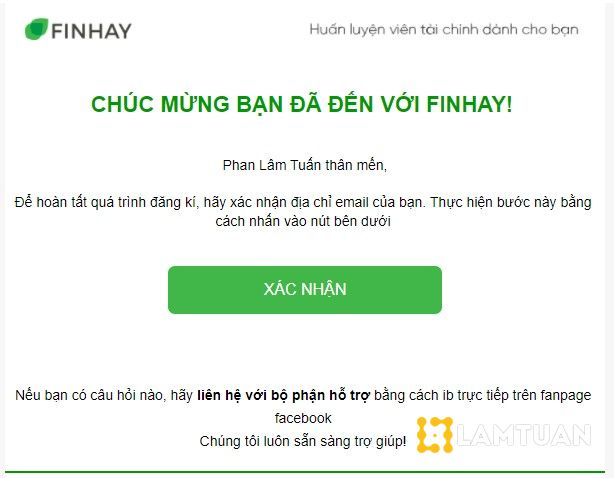 Vào email để kiểm tra thư xác nhận của Finhay.