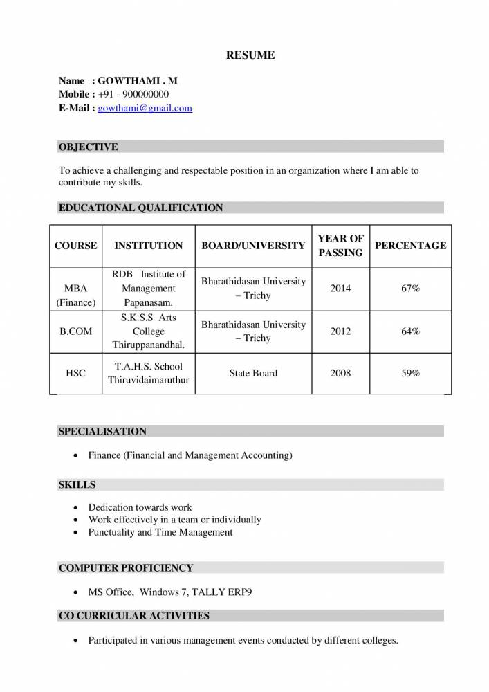 MBA Finance Fresher Resume format - Download Now - Resume Samples