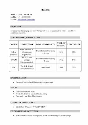 MBA Finance Fresher Resume 1