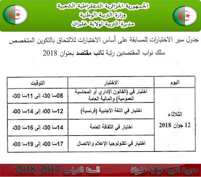جدول سير الاختبار الكتابي لمسابقة نائب مقتصد دورة جوان 2018