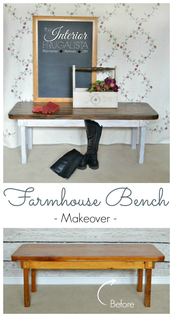 Farmhouse Bench Makeover Before and After