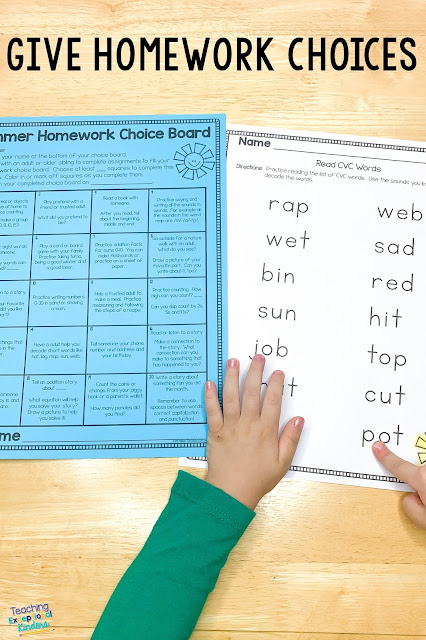 kindergarten-homework-choice-board