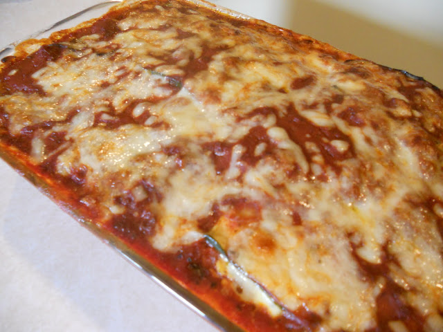 Lasagna made with a robust tomato sauce.