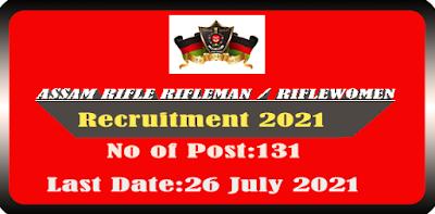 Assam Rifles Recruitment 2021 for Rifleman/ Riflewomen