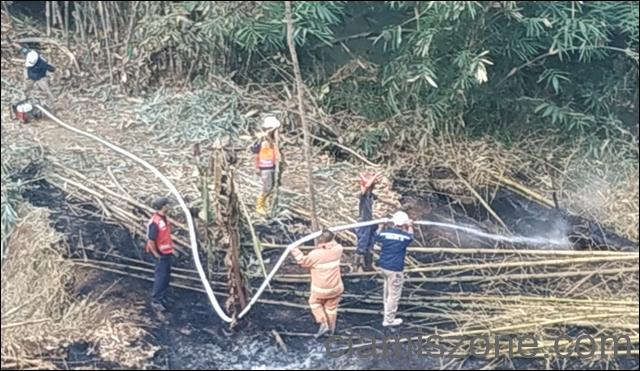 Lahah Bambu Terbakar, Ancam 4 Rumah Warga