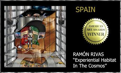 """Ramón Rivas con su obra: """"Experiential Habitat in the Cosmos"""".  Ganador en American Art Awards 2018"""