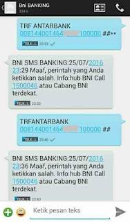 kesalahan format penulisan sms banking