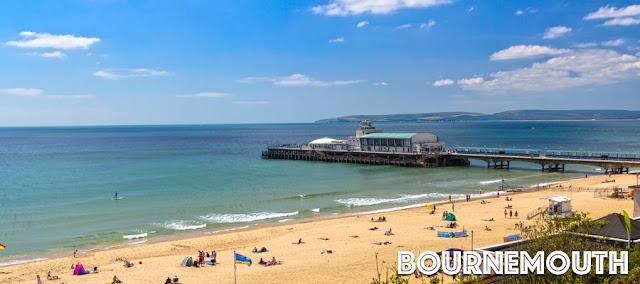 Bournemouth's sandy beach on a beautiful day