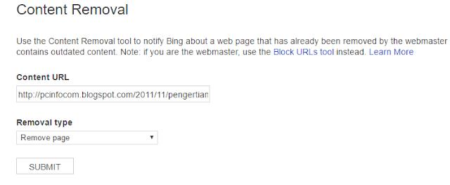Halaman tool remove conten bing