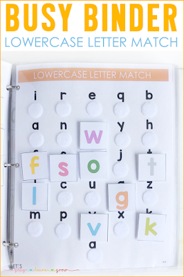 Lowercase Letter Match Busy Binder