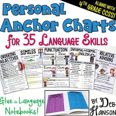 Interactive Notebook Anchor Charts that align to the 4th grade Common Core Standards- These 37 mini anchor charts can be glued into interactive notebooks and used as reference tools!