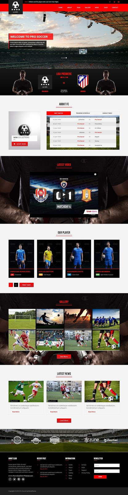 Pro Soccer Sports Club Responsive Website Template