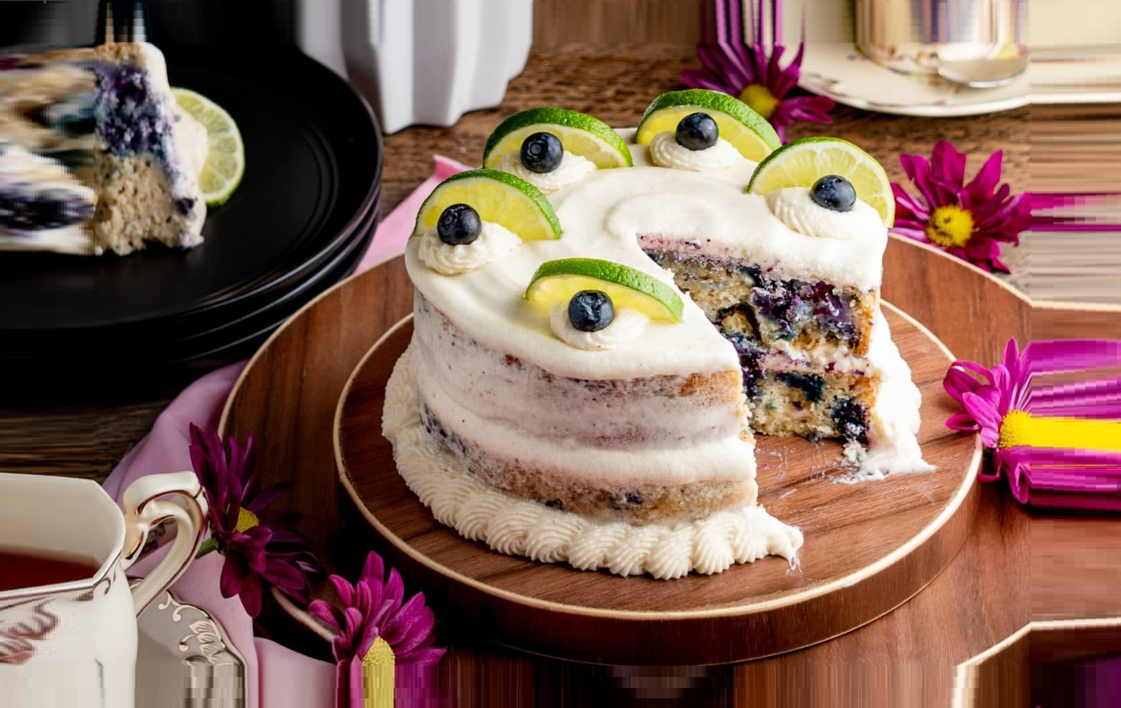 Vegan Blueberry Lemon Cake with Cream Cheese Frosting