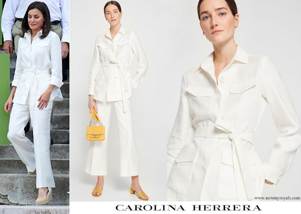 Queen Letizia wore Carolina Herrera ivory belted linen jacket