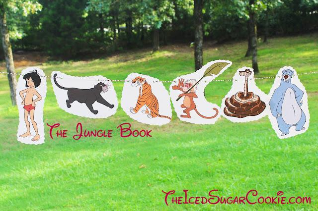DIY Jungle Book Birthday Party Flag Hanging Banner Ideas- Mowgli, Baloo, Shere Khan, Bagheera, Kaa, King Louie Monkey Servant The Iced Sugar Cookie