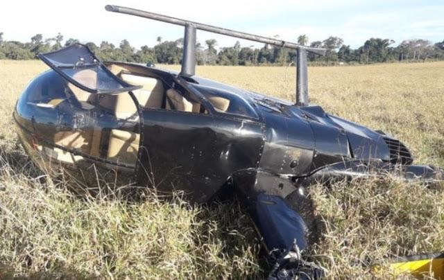 Polícia encontra aproximadamente R$ 500 mil em helicóptero que fez pouso de emergência