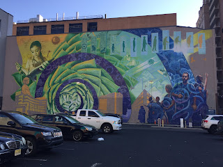 Mural on Sansom Street with the theme of biochemistry