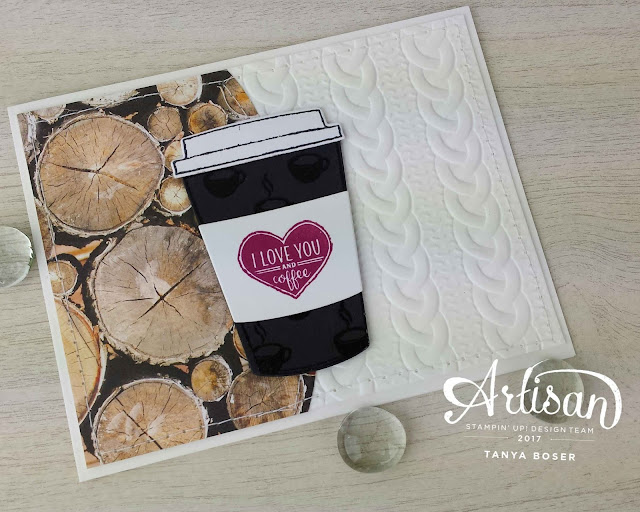 Merry Cafe from the Stampin' Up! Holiday Mini has loads of great images. Clear embossing the little cups on the die cut cup adds a nice touch of gloss and texture, and makes for a nice fall masculine card.  Tanya Boser for the Inky Friends blog hop