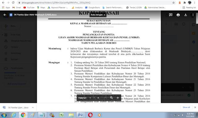 Contoh SK Pengangkatan Panitia Ujian Akhir Madrasah Berbasis Kertas dan Pensil (UMBKP) MI Tahun 2021
