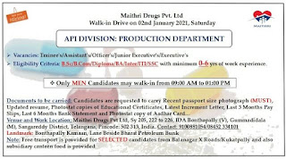 B.Sc/ B.Com/ Diploma/ BA/ Inter/ ITI/ SSC Vacancies For Trainee's/Assistant's Officer's/ Junior Executive's/Executive's in Maithri Drugs Pvt Ltd