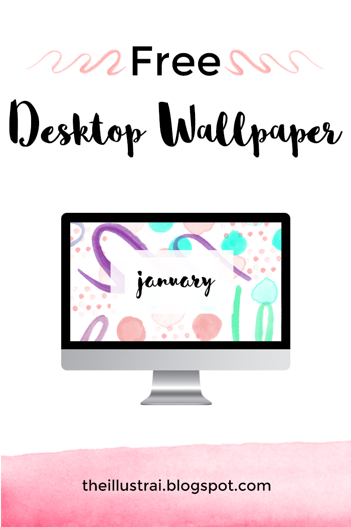 Download a free abstract watercolor desktop wallpaper for January