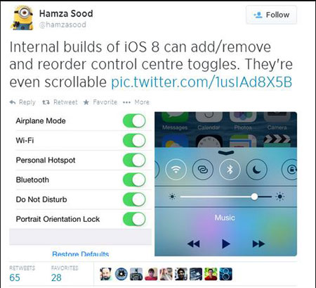 Update iOS 8.1, Bisa Kostum Control Center?