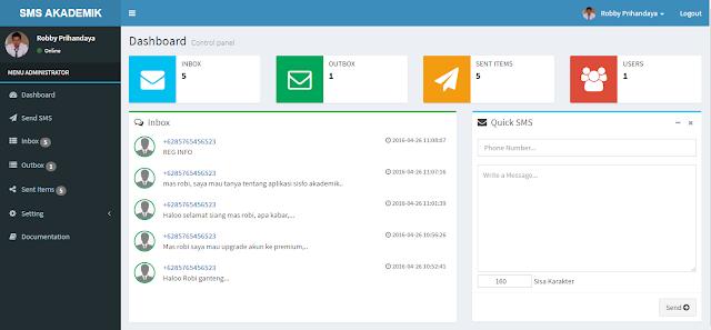 Download Gratis SMS Akademik Sekolah V.1 dengan Gammu, PHP dan MySQL (Responsive)