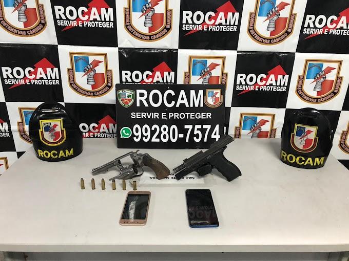 Policiais militares da Rocam detêm homem com armas de fogo na zona leste