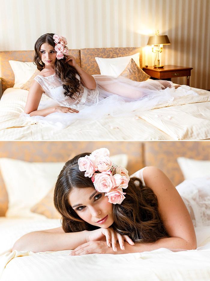 Inspirationen für ein Braut Boudoir Shooting im Luxus Hotel.
