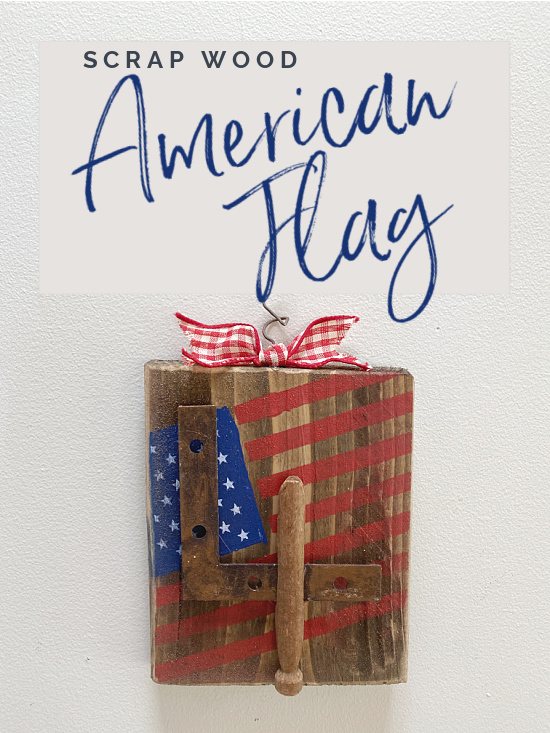 Scrap wood American flag with overlay