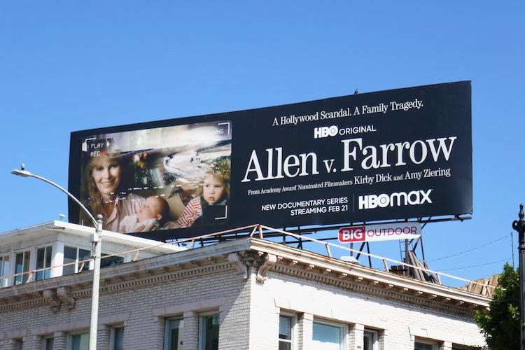 Allen v Farrow series launch billboard