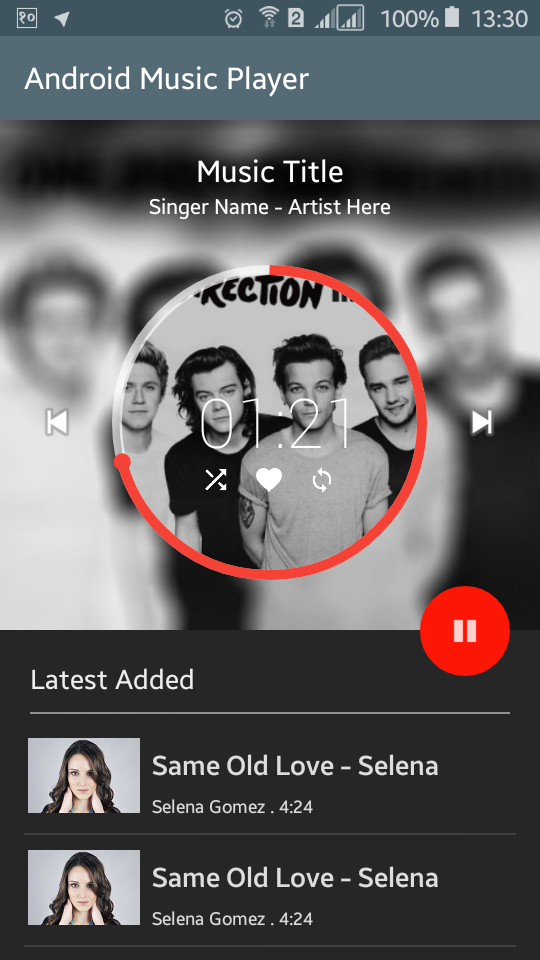 Android Example: Create a Music Player Android Application XML UI Design