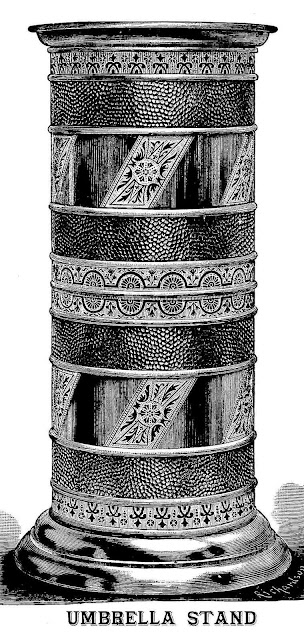 a detailed drawing of a brass 1886 umbrella stand