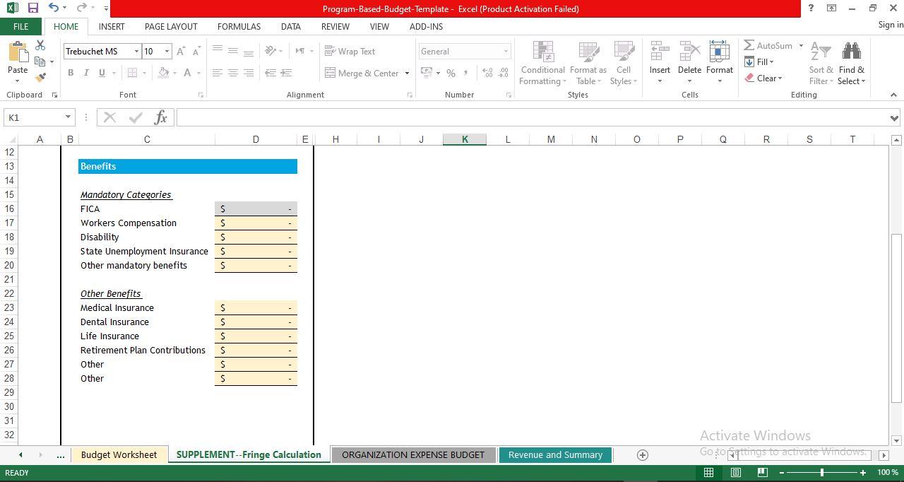 SUPPLEMENT Fringe Calculation template