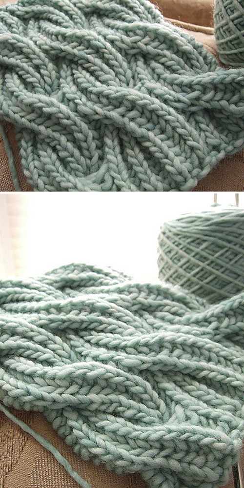 Reversible Cabled Brioche Stitch Scarf - Free Pattern