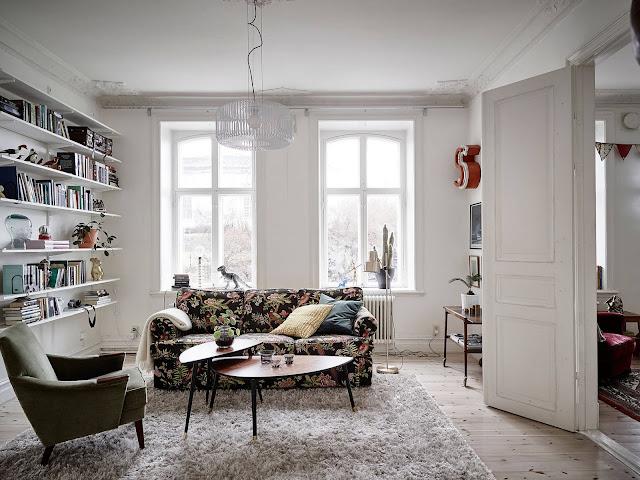 skandynawski styl, eklektyczne mieszkanie