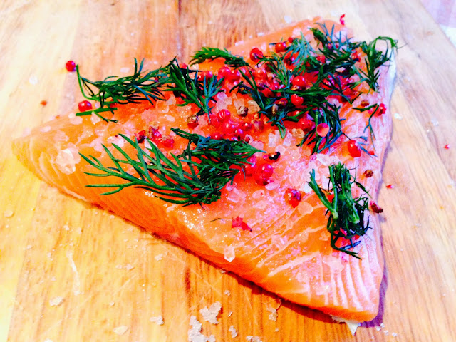 Finnish style Gravadlax with red peppercorns and dill