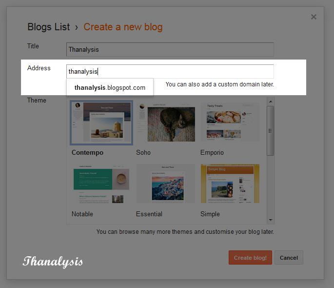 Provide an address to the blog - Thanalysis