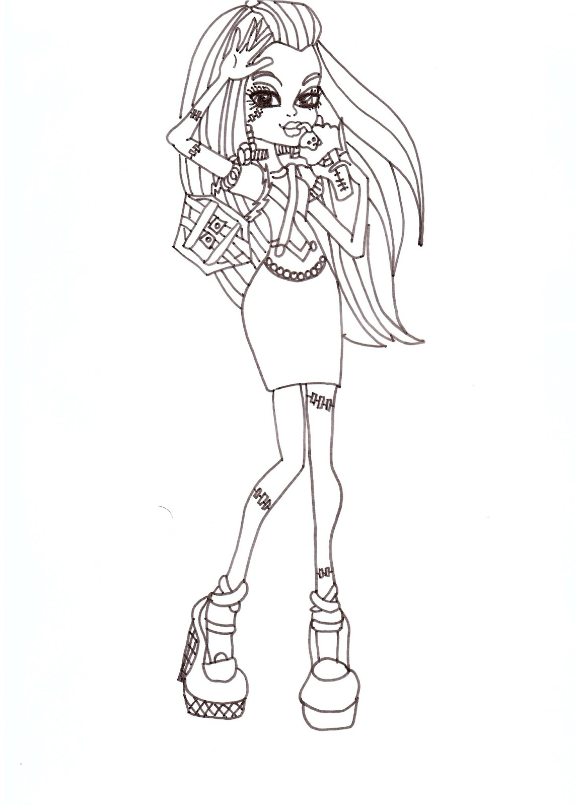 Free Printable Monster High Coloring Pages: Frankie Fashion 2012 ...