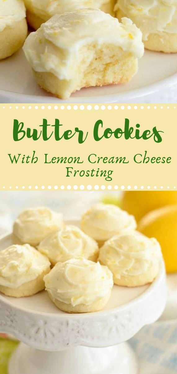 Butter Cookies with Lemon Cream Cheese Frosting #cookies #cake #pumpkin #bars #lemon