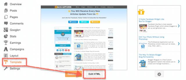 Blogger Edit HTML Function
