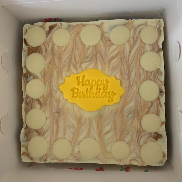 Happy Birthday white chocolate and biscoff tiffin in a box