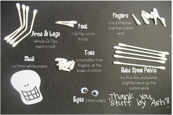 House of whimsy halloween crafts through the years for Q tip skeleton craft template