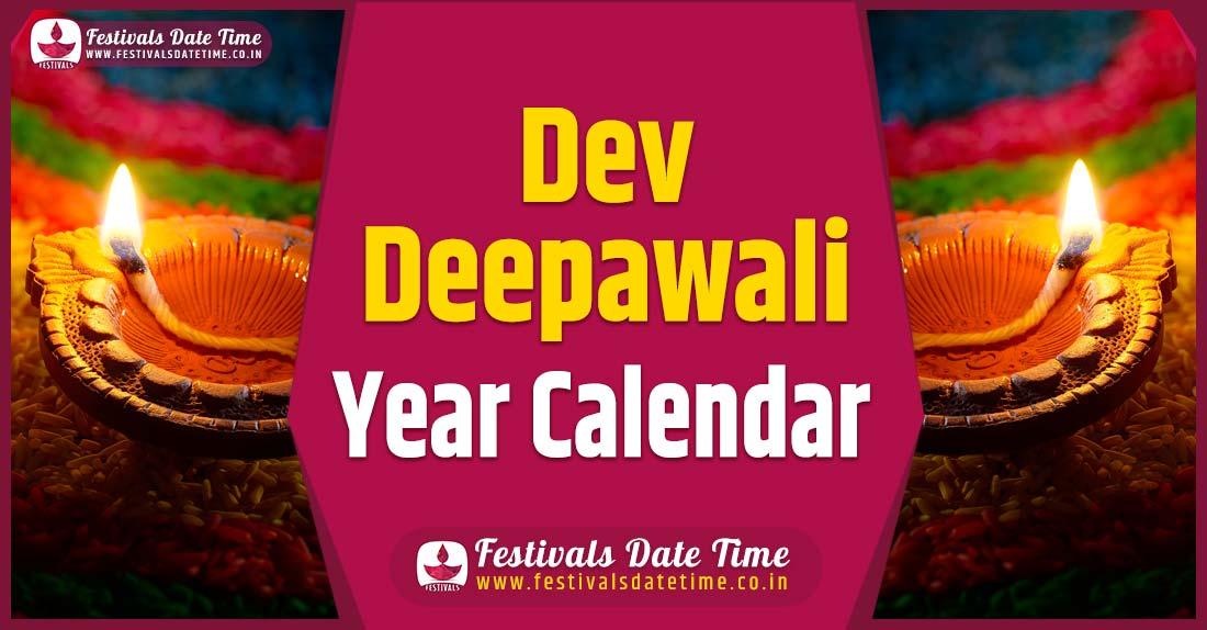 Dev Deepawali Year Calendar, Dev Deepawali Festival Schedule