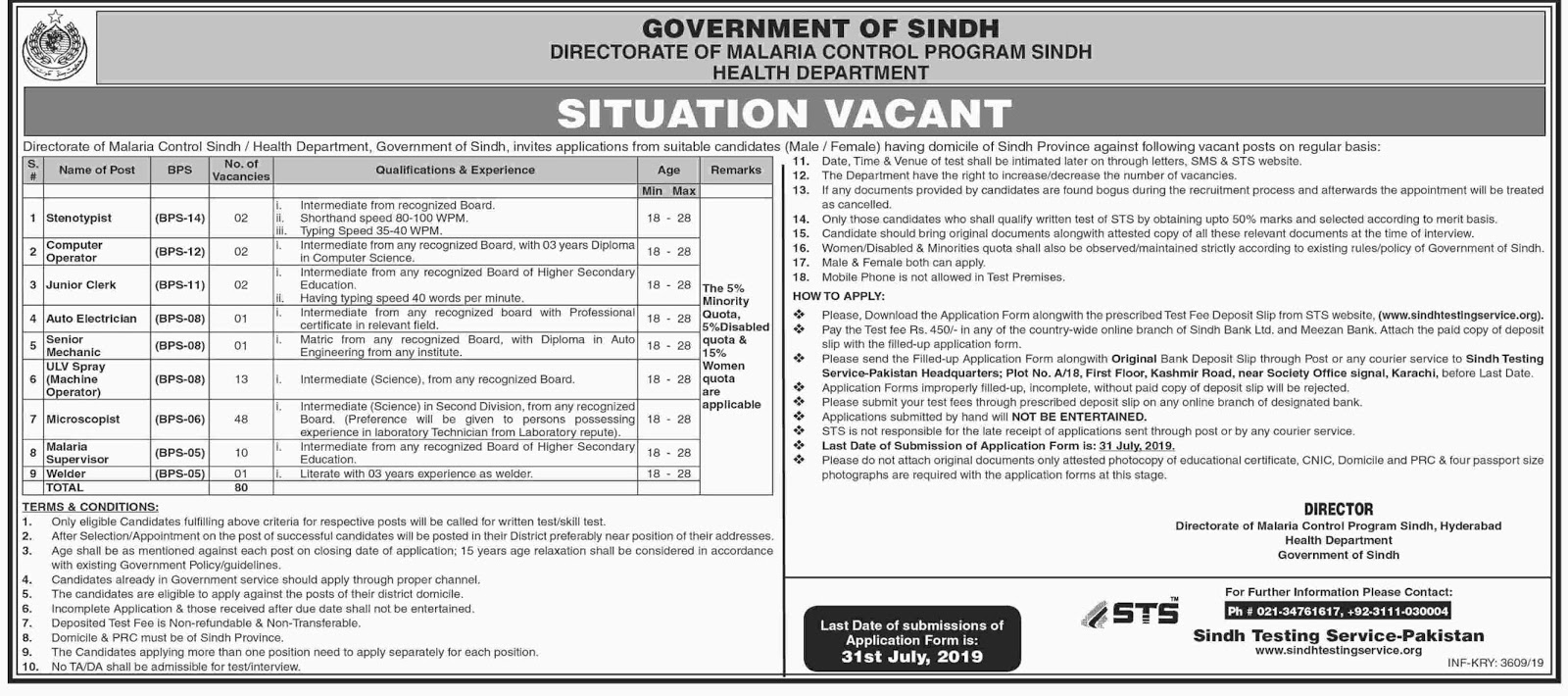Advertisement for Health Department Jobs July 2019